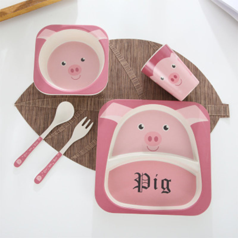Brand 5pcs/set Cartoon Children Dinnerware Set Bamboo Baby Service Plate Tray Bowl Spoon Fork Set Drinking Cup Kids Food Feeding 5pcs set baby feeding set with bowl plate forks spoon cup dinnerware set bamboo fiber kids tableware dish bpa free eco friendly