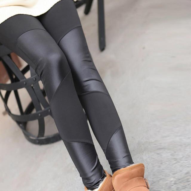 Black stitch leather leggings