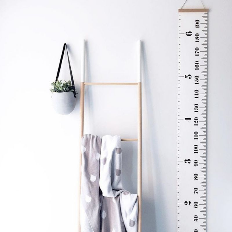 Home Hanging Height Growth Chart Ruler Wood Frame Canvas Fabric Height Measurement Ruler For Children Growing Record