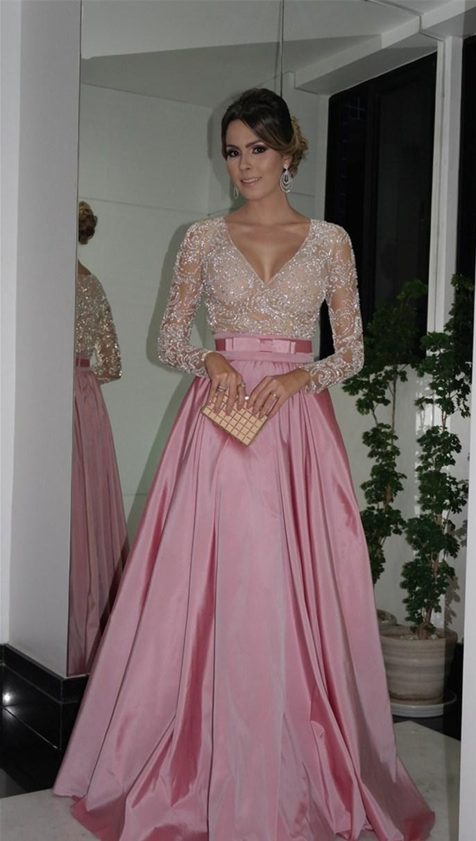 11ecde2fdd577 US $192.0 |2015 Prom Dresses Long Pink Vestidos Formatura Long Sleeve Prom  Dress With Beading Satin Gown For Graduation Or Special Occasion-in Prom ...