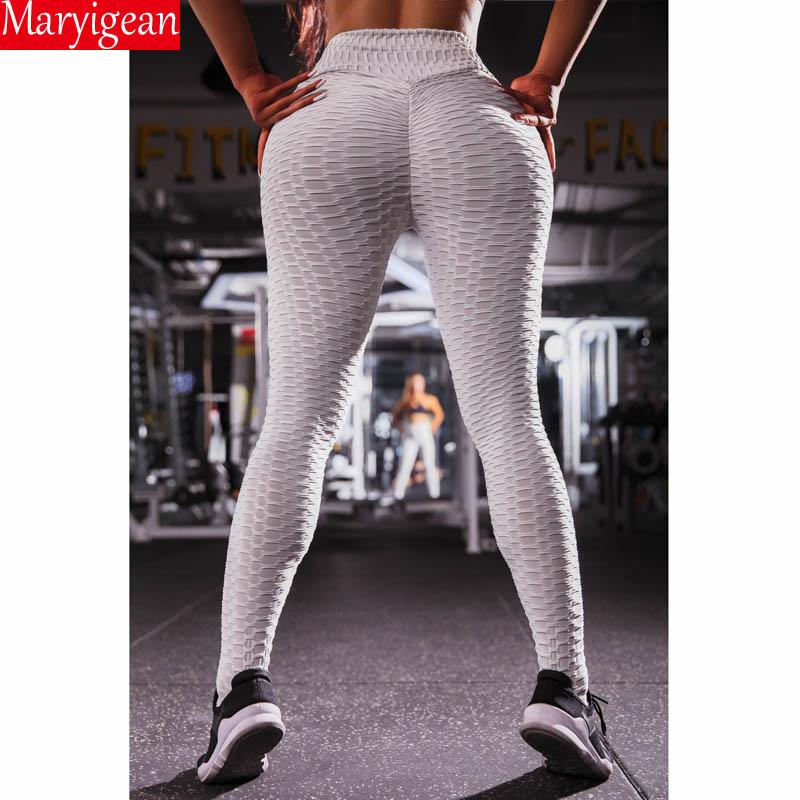 Maryigean Solid Legging Women Polyester Super Elastic High Waist Pant Workout Leggings Push Up Fitness Female Legging Sportswear