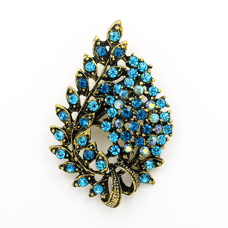 WEIMANJINGDIAN Brand Antique Gold Color Plated Vintage Style Leaf Shape Rhinestones Brooch Pins for Women in Assorted Colors