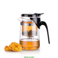 Super Quality Heat Resistance Borosilicate Glass Kung Fu Teapot 500ml With Strainer And Lid Free Shipping