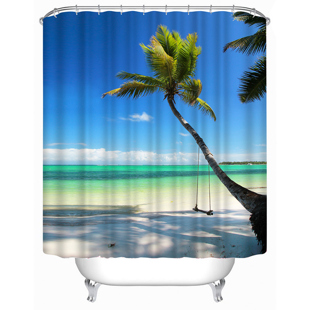 3D Waterproof Shower Curtain Beach Pebble Bamboo Tiger Print Polyester Bathroom With