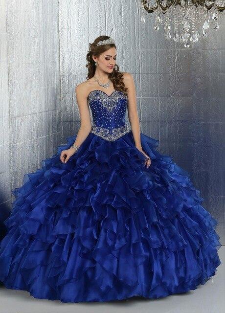 c9d1a13015 Baratos vestidos de 15 anos sweetheart beade tieredd azul real vestido de  quinceañera vestidos 2017 vestidos