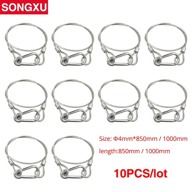 SONGXU 10pc Safety Cable Steel Wire Stage Light Safety Ropes Security Cable Equipment Bar Led Moving Head par light SX SR85CM
