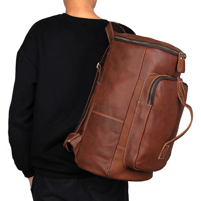 Vintage Oil Wax Genuine Leather Backpack Men Retro Handmade Daypack Causal  Travel Tote Bag Large Rucksack Barrel Purse 2006 28aa965cf4f26
