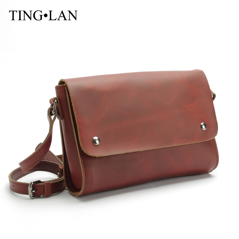 Vintage Women Bags Genuine Leather Messenger Bag Ladies Shoulder Crossbody Bags Brand Designer Real Cow Leather Brown Flap Bags fashion women messenger bags real leather designer ladies shoulder crossbody bags genuine cow leather small mini bags for women