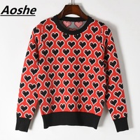 Luxury Runway Design Sweater For Women 2018 New Spring Long Sleeve Love Pattern Lady's Sweater Knit Pullover Korean Jumper