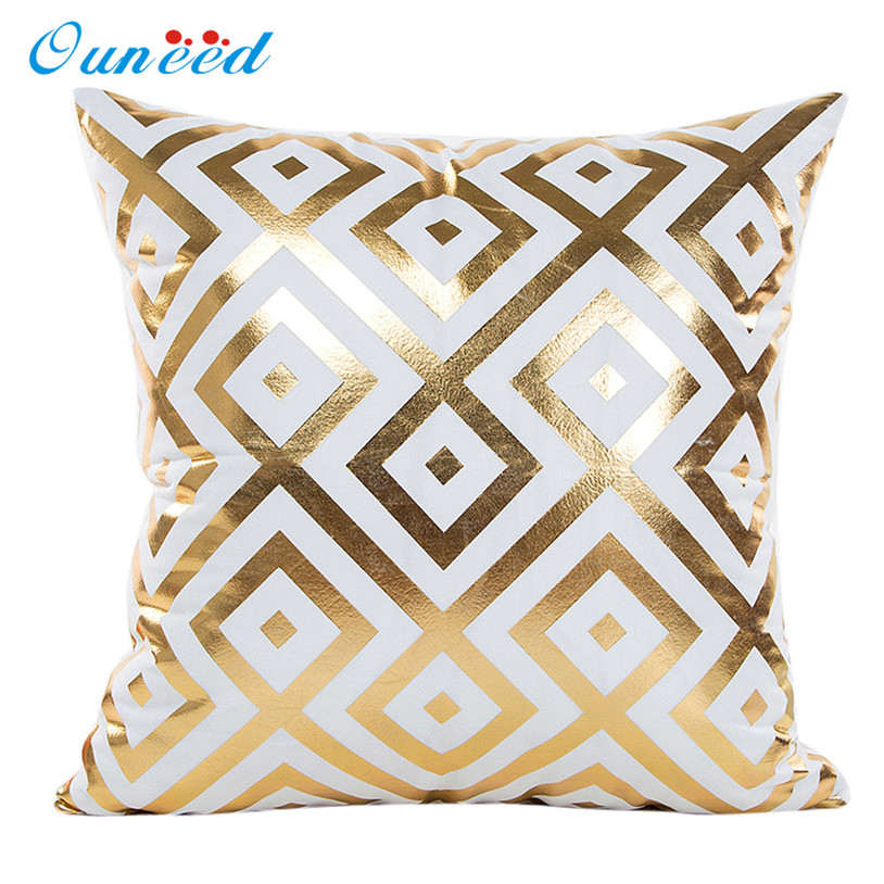 Pillowcase 45x45cm 1pc Gold Foil Printing Pillow Case Sofa Waist Throw Cushion Cover Home Decor