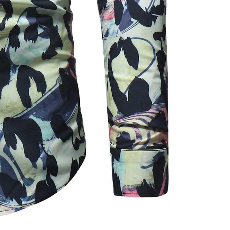 ヒョウ柄スリムフィット長袖シャツ男性 2018 春秋の新カジュアルボタンダウンドレスシャツ男性 Camisas パラやつ