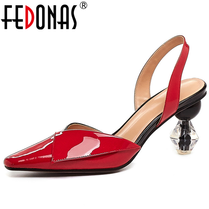 FEDONAS New Elegant Sexy Pointed Toe Strange Style Brand Women Sandals Fashion Mixed Colors Cow Patent