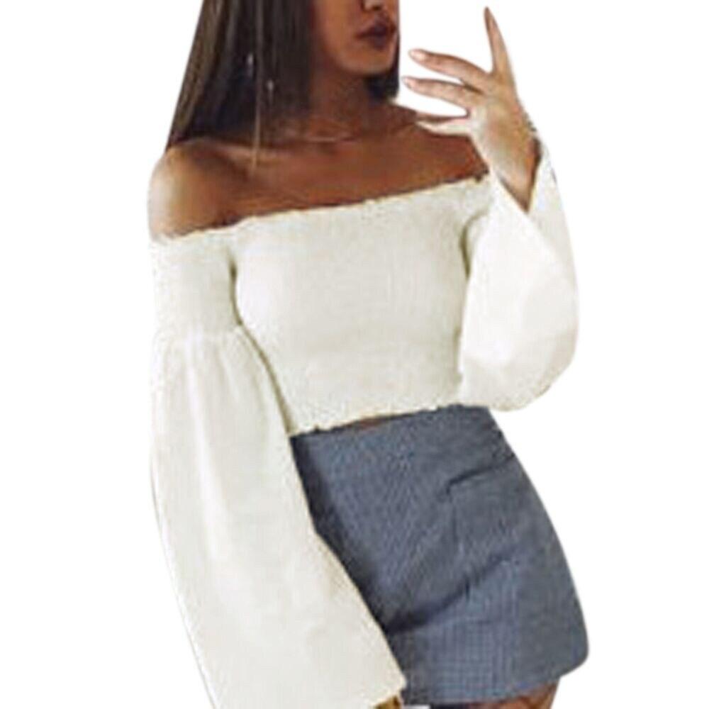 Women blouses  ladies tops off shoulder top long sleeve pullover blouses slash neck long sleeve blouses for women#811