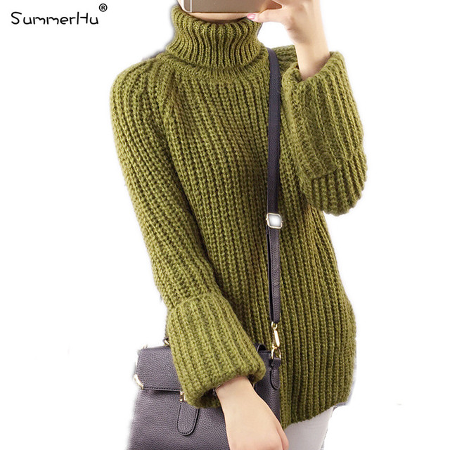 2015 Women Latest Long Knitted Sweaters Turtleneck Slit Thickened