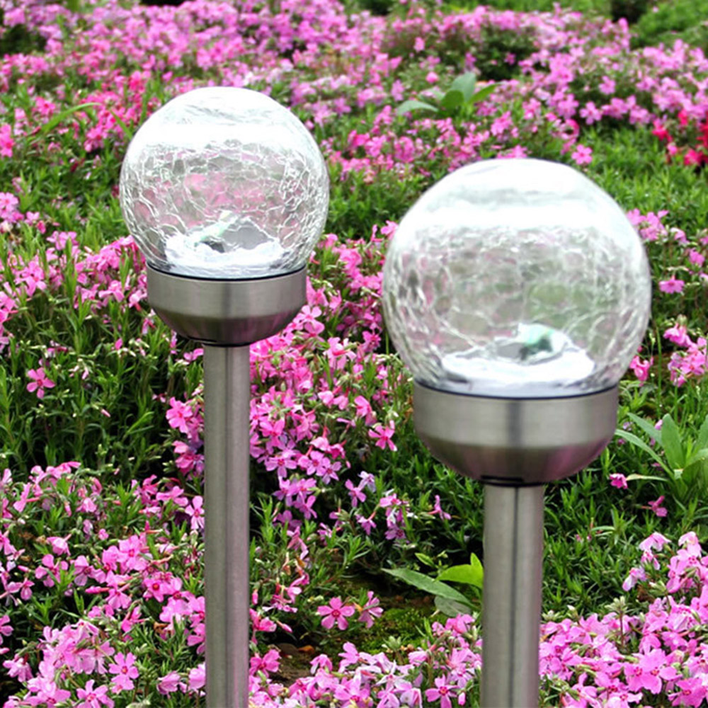 4PCs Solar LED Lawn Lamp Crystal Crackle Ball Outdoor Waterproof LED Solar Powered Lawn Lights Garden Path Stake Lanterns Lamps чехол книжка anymode для samsung galaxy s6 edge розовый