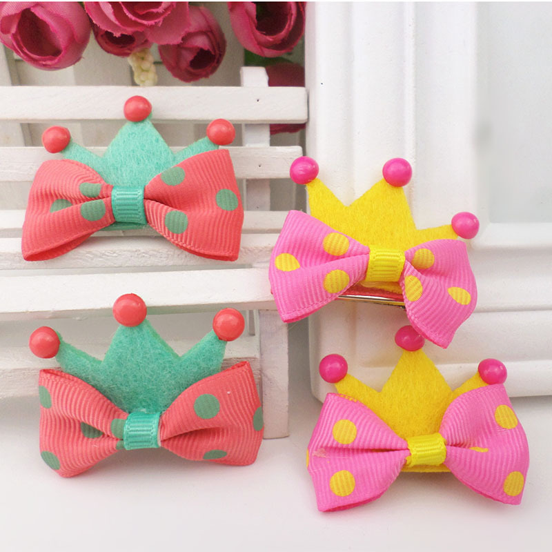 1Pc Hot Hair Accessories Kid Girl Crown Molding Hairpin Brand New Hair Clips Princess Barrette Ribbon Random Color
