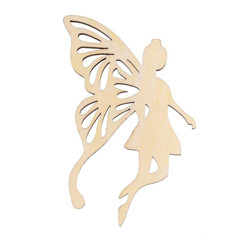 10pcs wood fairy angelu0027s wings shape ornament tag with string hanger small mini shape for