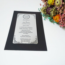 Customize 100pcs per lot 100*180mm silver mirror acrylic wedding invitation card laser cut wedding invitations