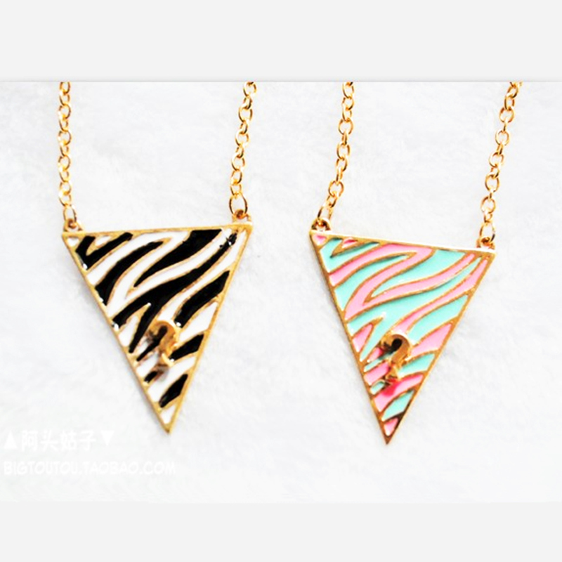 New style Free Shipping Question Mark Triangle Wild Zebra Stripes Drip Long Necklaces Pendants Accessories Jewelry