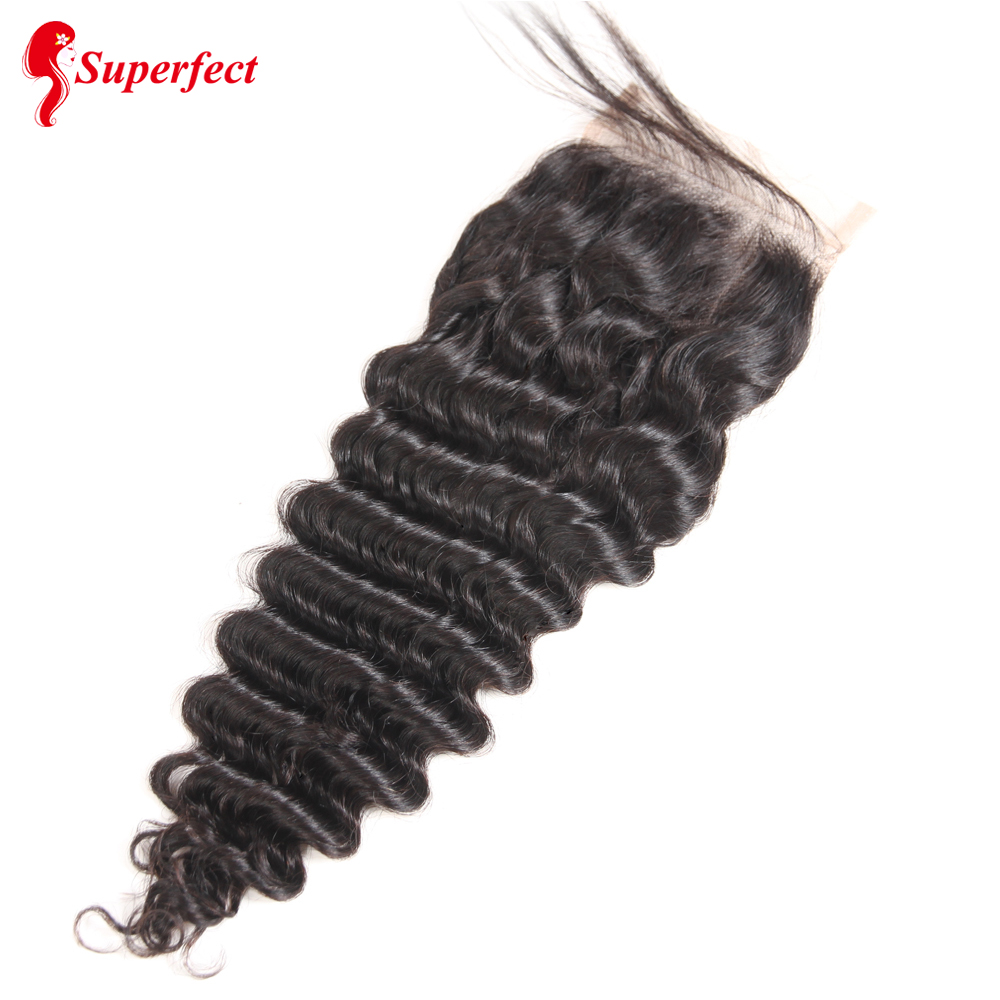 Superfect Hair Lace Closure 4*4 Brazilian Deep Wave Closure 8-24inches Remy Human Hair Closure Free Shipping