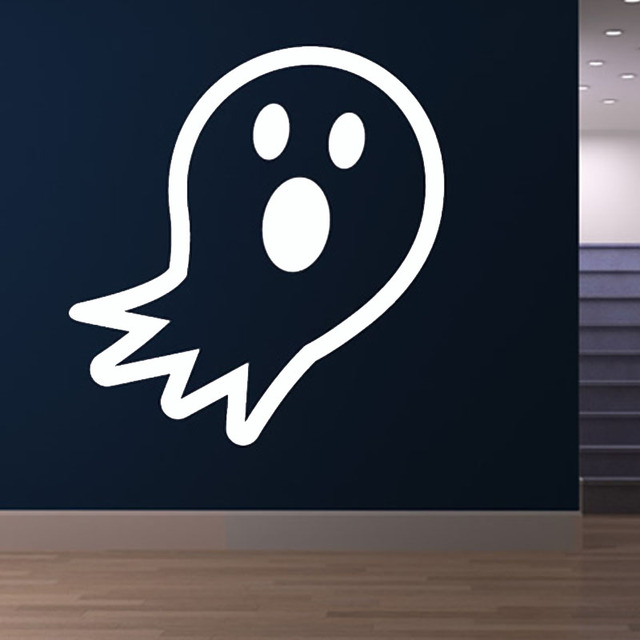 Surprised Cartoon Ghost Soul Wall Sticker Halloween Home Decor Hollow Out  Removable Vinyl Wall Decal