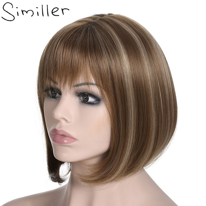 Similler Women Yaki Straight Short Bob Afro Wigs With Flat ...