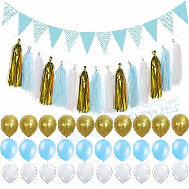 1 Set Light Blue Gold Paper Tassel Garland Flag Banner Birthday Party Wedding Decor Baby Boy