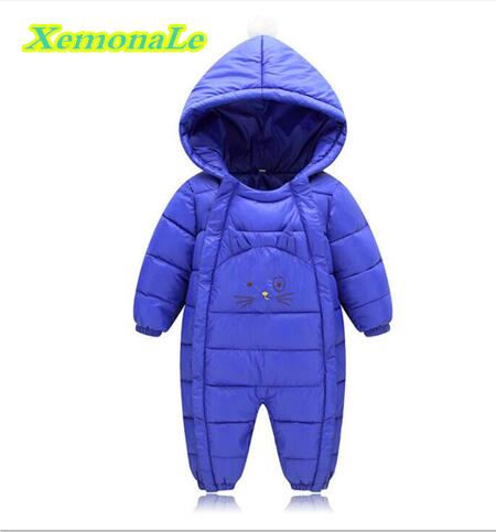 XemonaLe 2017 Winter Infant/Newborn Rompers Cotton Baby Girls Boys Warm Rompers Hooded Casual Children Outdoor Kids Jumpsuits new 2016 autumn winter kids jumpsuits newborn baby clothes infant hooded cotton rompers baby boys striped monkey coveralls