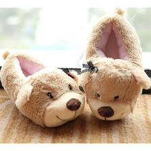 2017 new arrival Cute pet plush slippers comfortable corduroy winter indoor home butterfly knot women