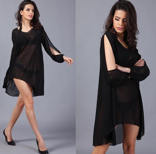 2e00b12ea7 New Arrival summer styles casual holiday dresses, sexy v neck chiffon loose  ladies fashion