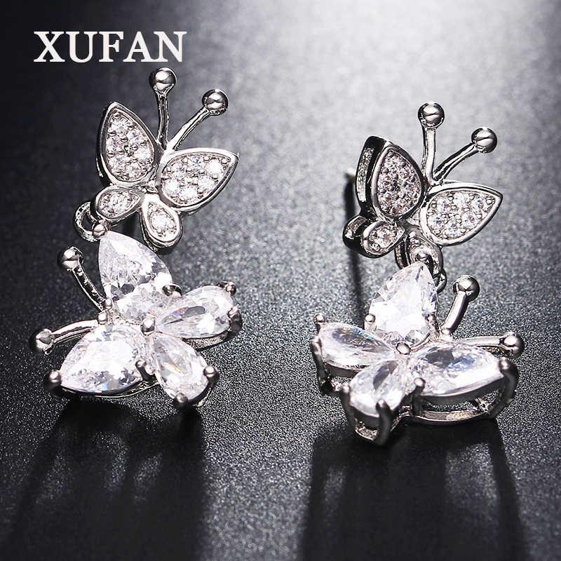 8276a9ce6 Silver Color butterfly CZ stone Stud Earrings for Girls Clear Cubic  Zirconia Women's Earrings Fashion Jewelry