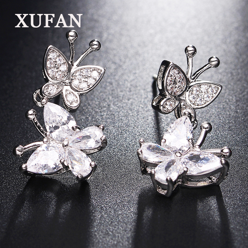 Silver Color butterfly CZ stone Stud Earrings for Girls Clear Cubic Zirconia Womens Earrings Fashion Jewelry Dropshipping