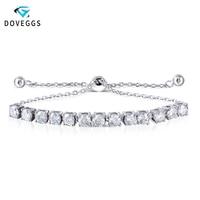 DovEggs стерлинговые браслеты платиновым покрытием серебра 4mm F Цвет Муассанит Регулируемая теннисная Браслеты для Для женщин подарок на день