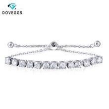 DovEggs Armbänder Sterling Solide 925 Silber 0.25CTW 4MM F Farbe Moissanite Einstellbare Tennis Armbänder für Frauen Valentinstag Geschenk