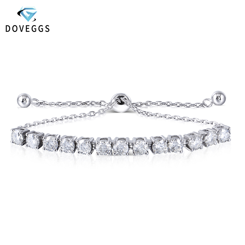 DovEggs Bracelets Sterling Solid 925 Silver 0.25CTW 4MM F Color Moissanite Adjustable Tennis for Women Valentine Gift