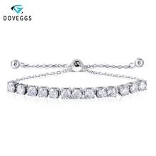 DovEggs Bracelets Sterling Solid 925 Silver 0.25CTW 4MM F Color Moissanite Adjustable Tennis Bracelets for Women Valentine Gift