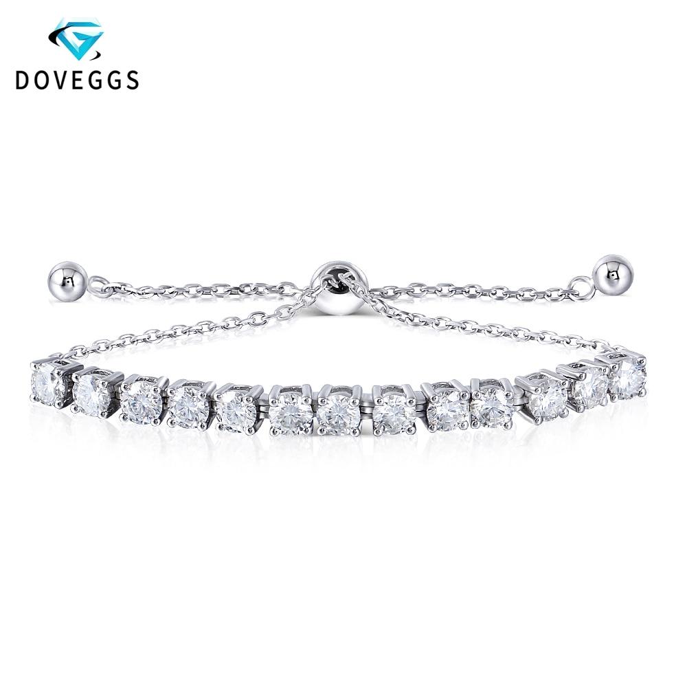 DovEggs Sterling Bracelets Platinum Plated Silver 4mm F Color Moissanite Adjustable Tennis Bracelets for Women Valentine Gift