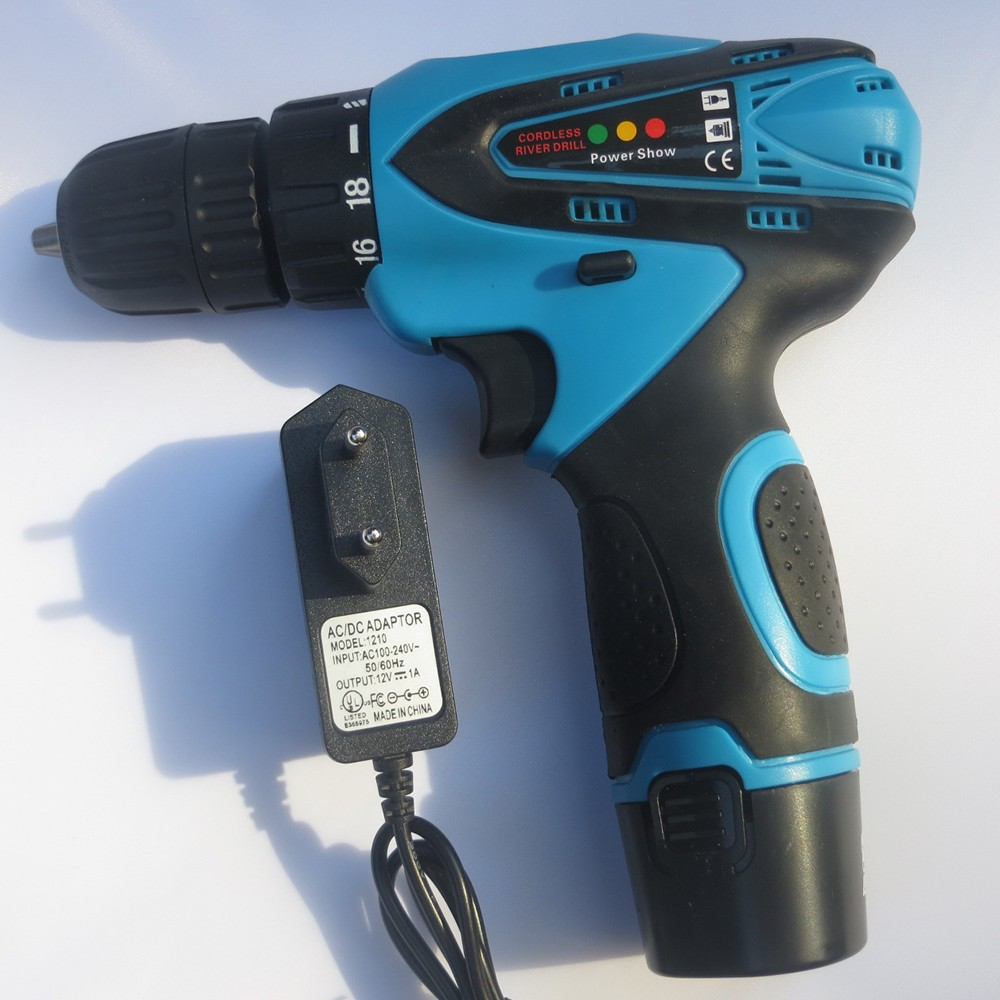 Hot sell Blue 12V Household Cordless Drill Lithium Li ion battery electric drill free drop shipping