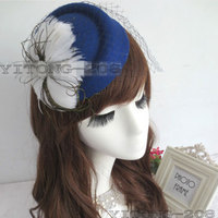 New Fashion Decorative Feather Satin Fascinator Hair Clip Cocktail Hat Foe Wedding Party Decoration Accessory Flower