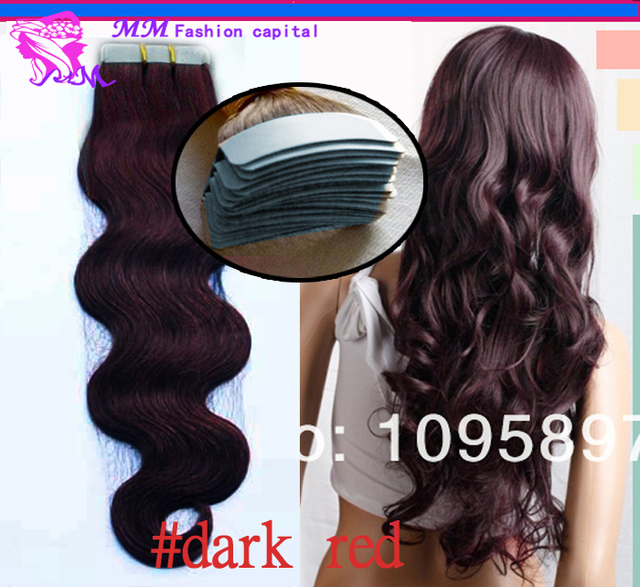 Tape In Hair Extensions Remy 40 Pieces Brown Brazilian Body Wave Pu