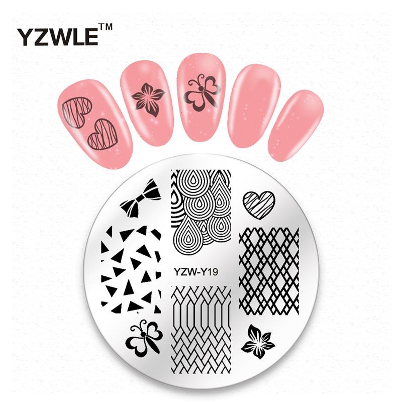 YZWLE 1 Hoja de Diseño de Moda Ronda de Navidad Nail Art Imagen del Sello Polaco