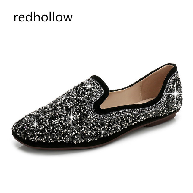77c08fed887cd 2017 Spring Autumn Loafers Women Shoes Ladies Flat Shoes Bling Ballet Flats  Woman Casual Shoe Sapato Zapatos Mujer Womens Loafer