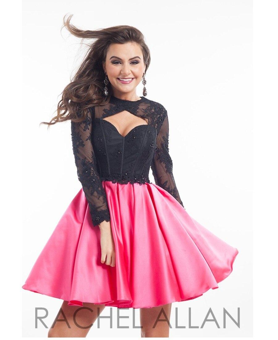 Black Long Sleeve Short Mini Homecoming Dresses Backless 2017 ...