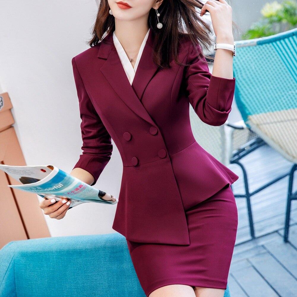 Pant Suit Office Clothes 4XL Plus Size 2 Piece Set Blazer Jacket Trousers Costume Interview Host Business Lady Work Suit ow0519 55