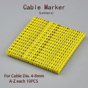 Marqueur de câble 260 pièces | Pour lettres jaunes de 6 carrés/mm chacun de 10 pièces, marqueurs de fils de distinction pour câble de 6 mm2