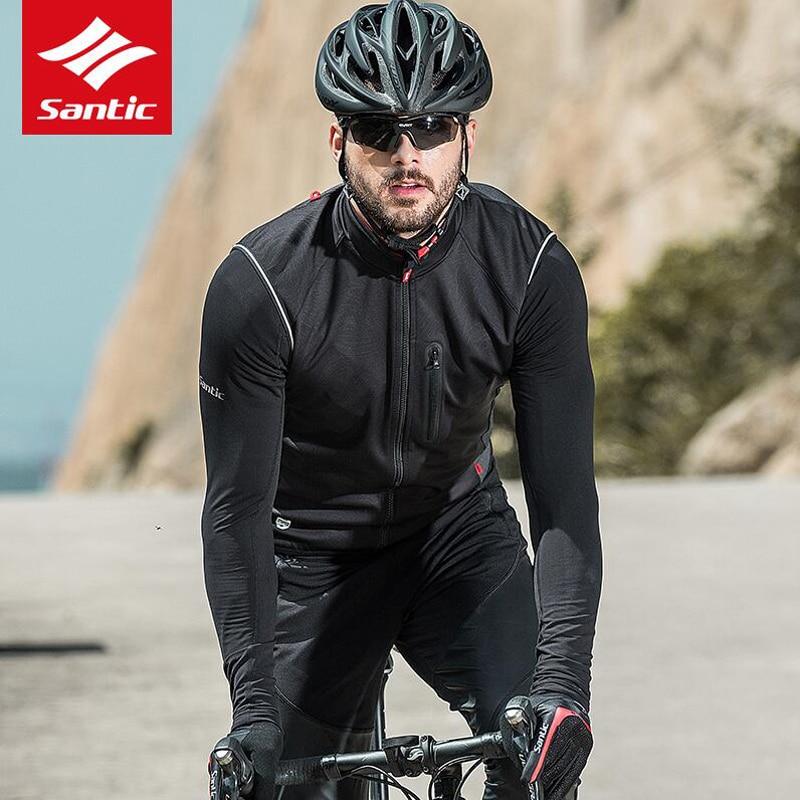 Santic Windproof Cycling Vest Jacket  Warm Cycling Sleeveless Jersey Black Men