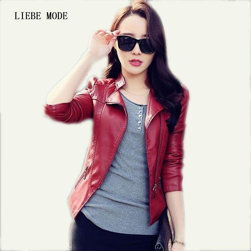 Printemps automne conception courte solide rouge noir Slim Fit veste en cuir femmes Pu cuir Moto Biker veste dames en cuir manteaux