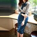 Nova primavera outono magro sweater dress lápis arco dress casual mulheres malha manga comprida escritório vestidos longos bodycon dress d69502