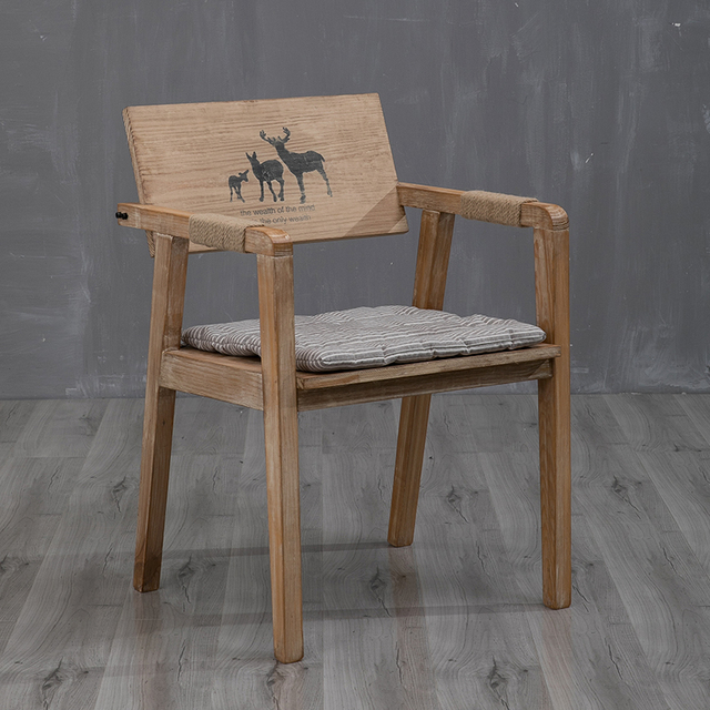 Solid Wood Assembled Retro Simple Dining Chair Designer Chair Desk