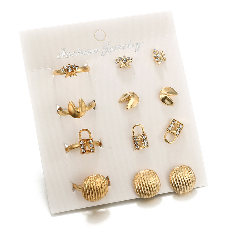 Bohemian Lock Flowers Ring & Stud Earring Set for Women Gold Color Crystal Ear Studs Aretes De Mujer Modernos 2018 Wholesale